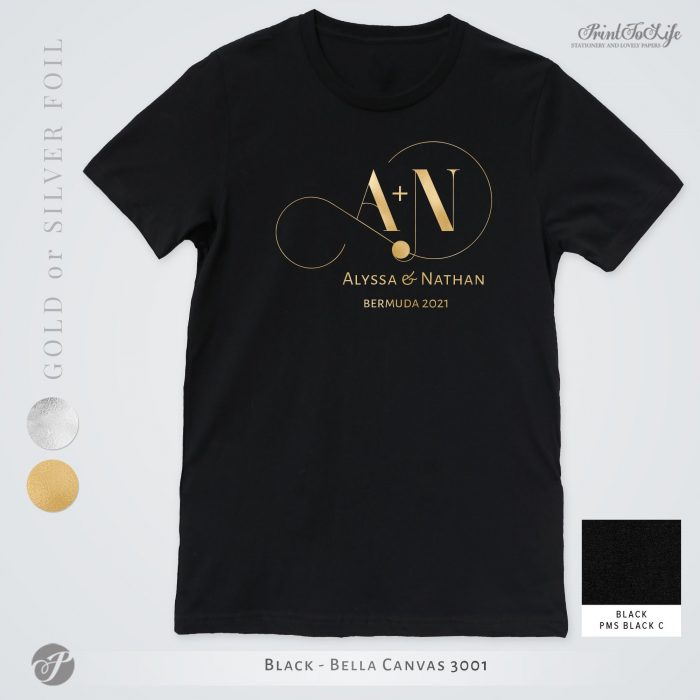 Monogrammed Wedding t-shirt | Infinity Collection | Gold & Silver foil logo 3