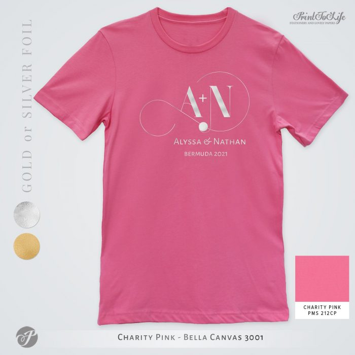 Monogrammed Wedding t-shirt | Infinity Collection | Gold & Silver foil logo 10