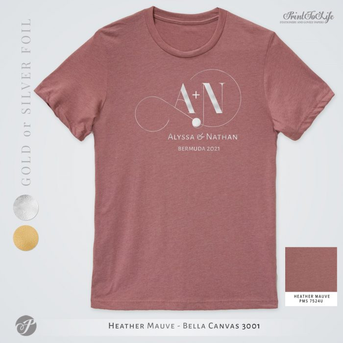 Monogrammed Wedding t-shirt | Infinity Collection | Gold & Silver foil logo 9