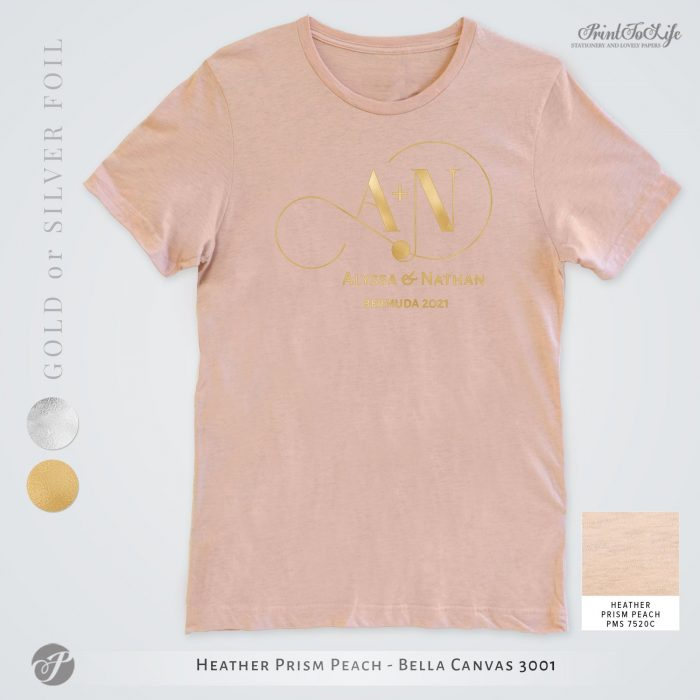 Monogrammed Wedding t-shirt | Infinity Collection | Gold & Silver foil logo 7