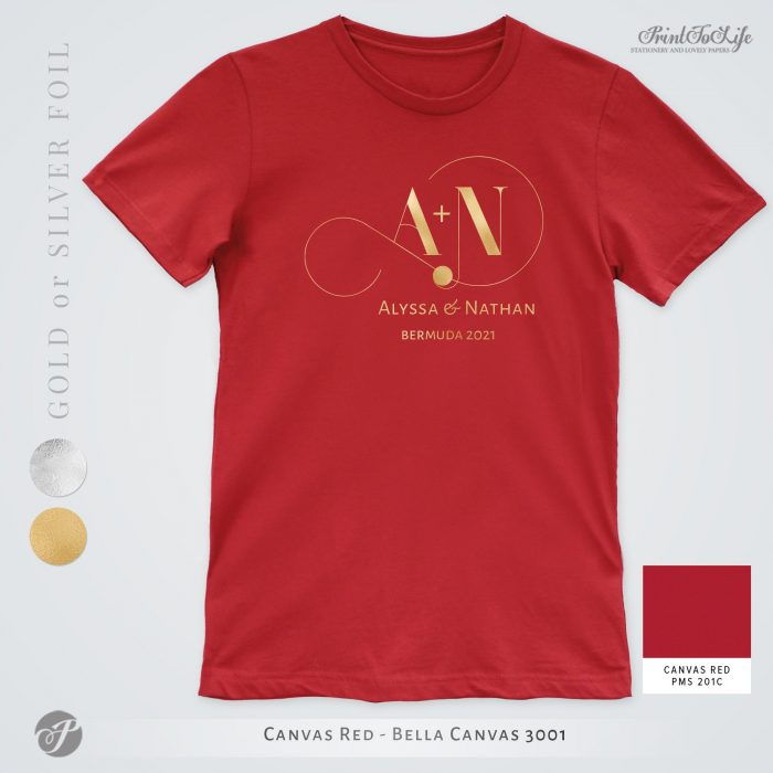 Monogrammed Wedding t-shirt | Infinity Collection | Gold & Silver foil logo 5