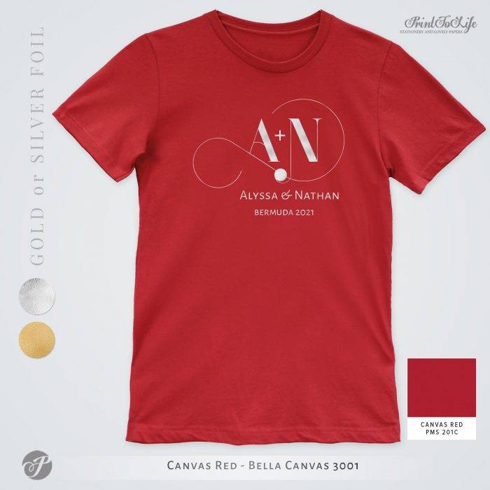 Monogrammed Wedding t-shirt | Infinity Collection | Gold & Silver foil logo 4