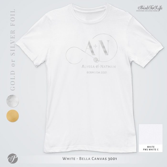 Monogrammed Wedding t-shirt | Infinity Collection | Gold & Silver foil logo 12