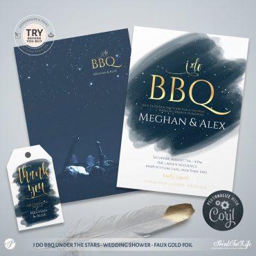I do BBQ invitation under the stars