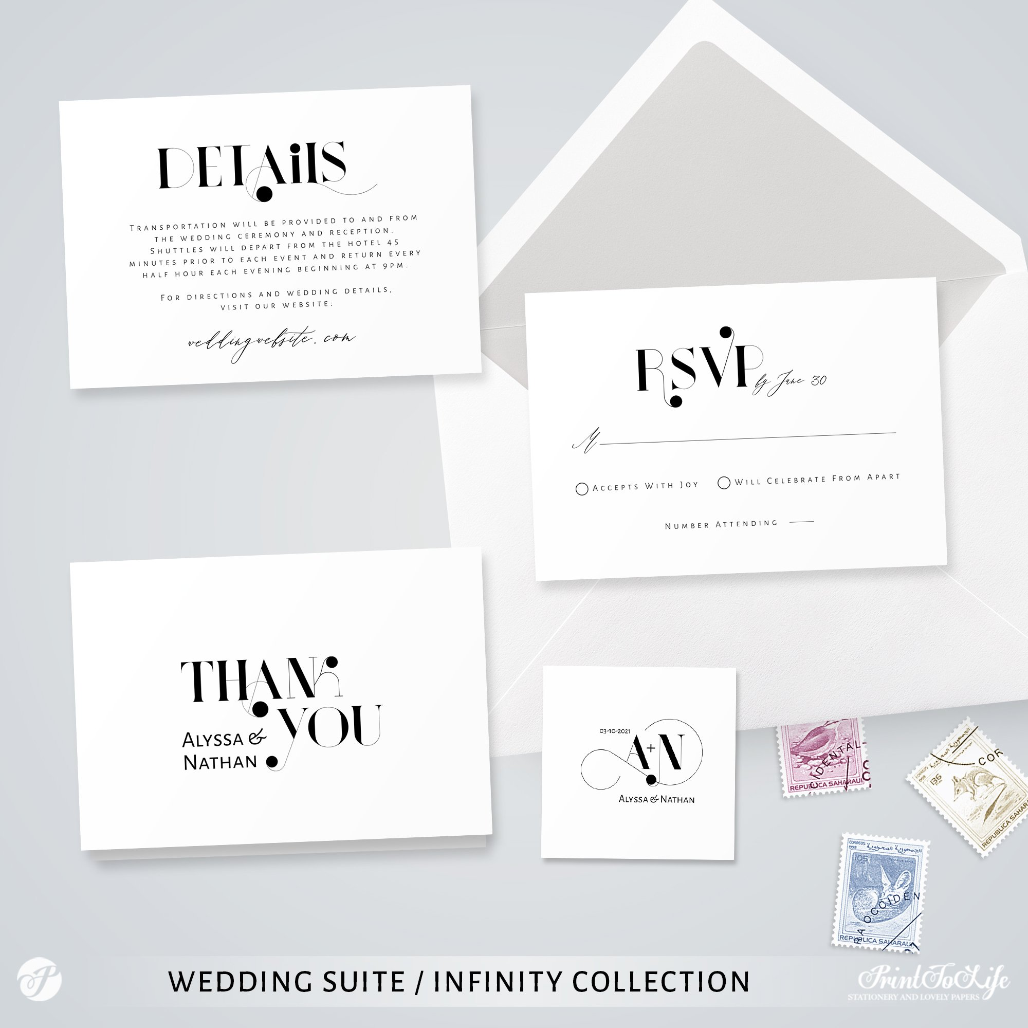 wedding invitation infinity collection