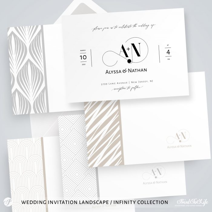 Wedding logo + Monogrammed Invitation Suite | 1 Logo Made to order + Editable Set of 5 templates | Infinity Collection 5