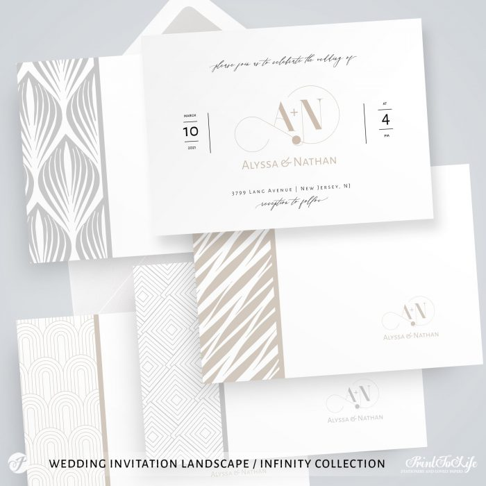Wedding logo + Monogrammed Invitation Suite | 1 Logo Made to order + Editable Set of 5 templates | Infinity Collection 4