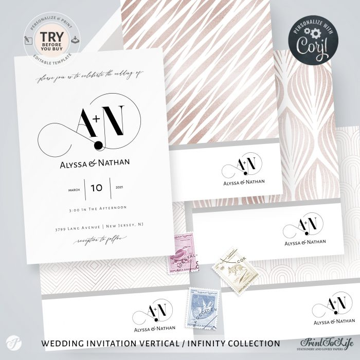 Wedding logo + Monogrammed Invitation Suite | 1 Logo Made to order + Editable Set of 5 templates | Infinity Collection 3