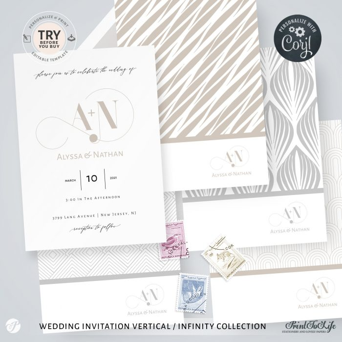 Wedding logo + Monogrammed Invitation Suite | 1 Logo Made to order + Editable Set of 5 templates | Infinity Collection 2