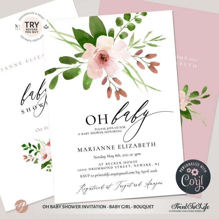 Oh Baby Shower Invitation | Baby Girl Shower Invite Template | Pink bouquet | Corjl 1