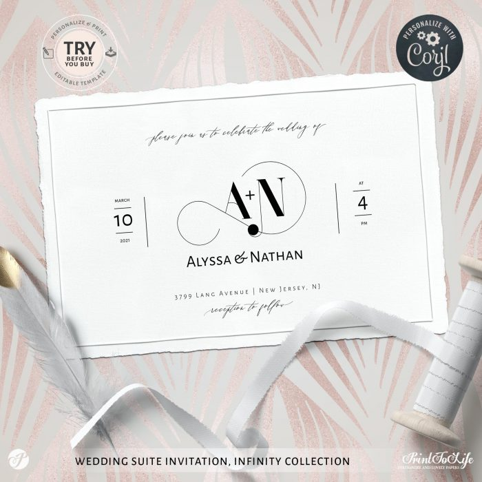 Wedding logo + Monogrammed Invitation Suite | 1 Logo Made to order + Editable Set of 5 templates | Infinity Collection 1