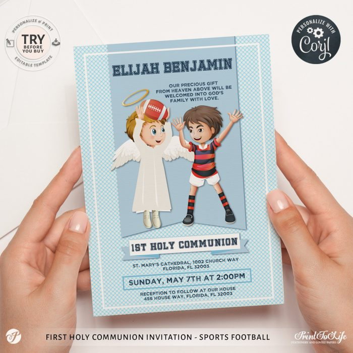 First Holy Communion Invitation | Sweet Guardian Angel is With You + 1 Thank You Tag 1