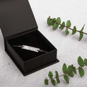 Engraved Silver Bar Chain Bracelet 1