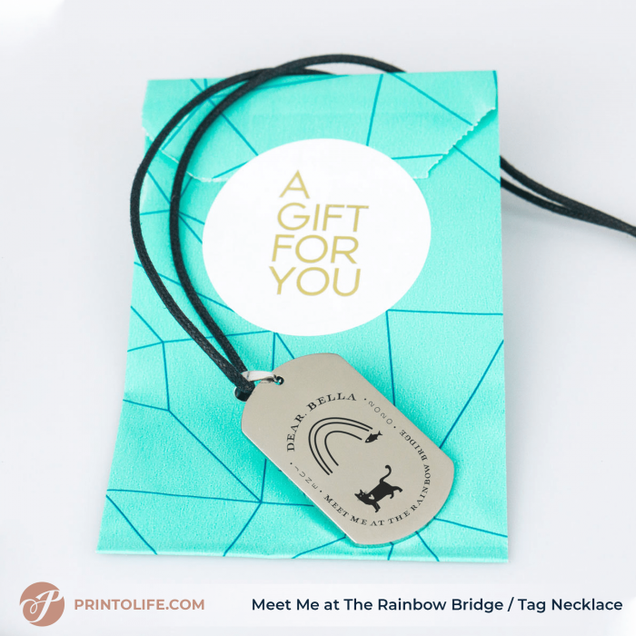 Pet Memorial Personalized Necklace | Meet Me at The Rainbow Bridge | 1 Sweet Cat remembrance | Free Shipping US 1