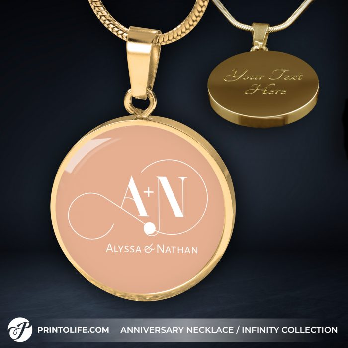 Anniversary Necklace | 1 Personalized Circle Pendant with Monogram | Infinity Collection 10