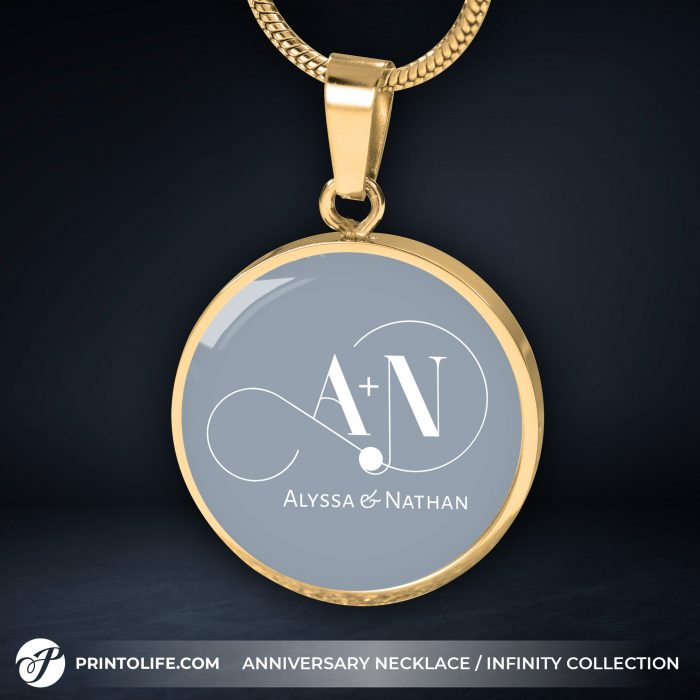 Anniversary Necklace | 1 Personalized Circle Pendant with Monogram | Infinity Collection 11