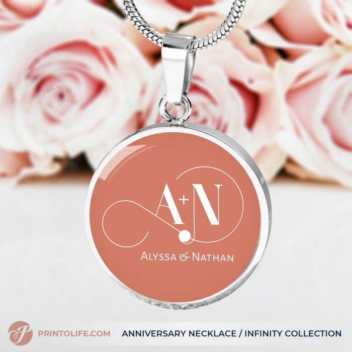 Anniversary Necklace | 1 Personalized Circle Pendant with Monogram | Infinity Collection 1