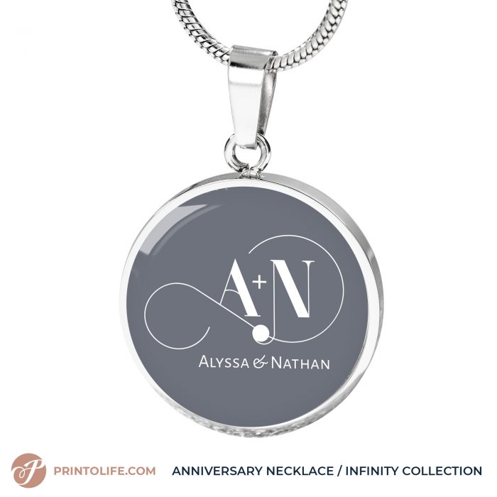 Anniversary Necklace | 1 Personalized Circle Pendant with Monogram | Infinity Collection 6