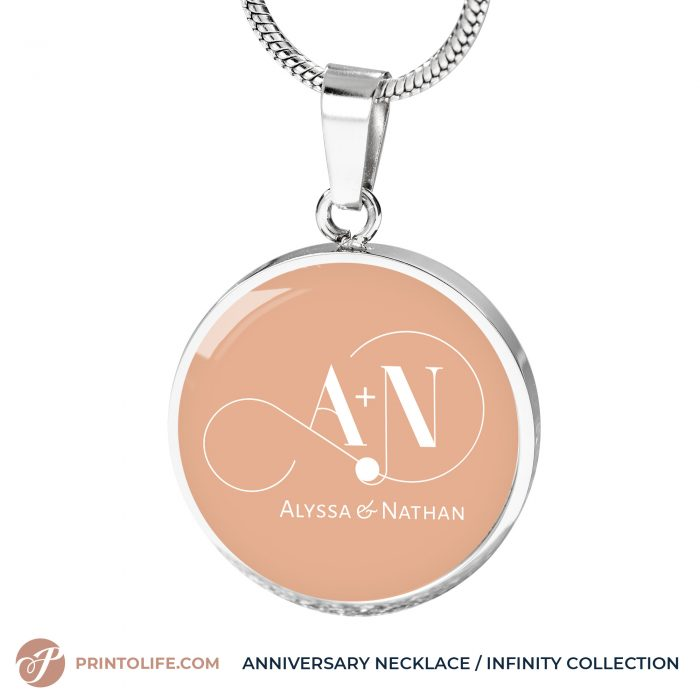 Anniversary Necklace | 1 Personalized Circle Pendant with Monogram | Infinity Collection 7