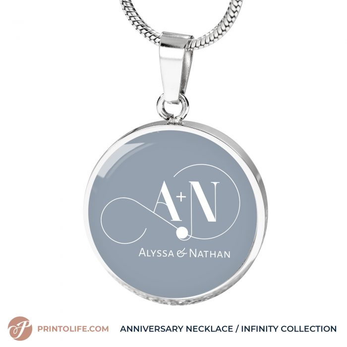 Anniversary Necklace | 1 Personalized Circle Pendant with Monogram | Infinity Collection 8