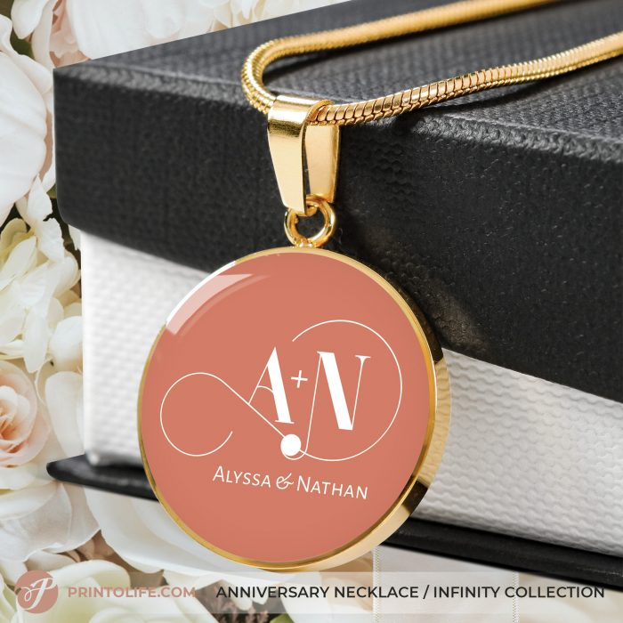 Anniversary Necklace | 1 Personalized Circle Pendant with Monogram | Infinity Collection 3