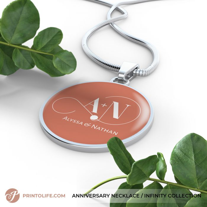 Anniversary Necklace | 1 Personalized Circle Pendant with Monogram | Infinity Collection 4