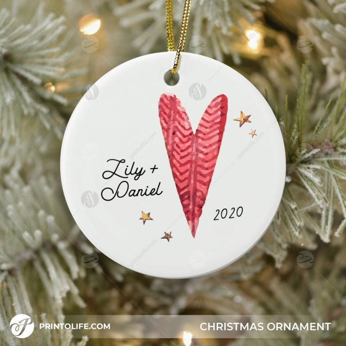 Couples Christmas Ornaments, 1 Sweet Personalized Ornament with Names and Date 3
