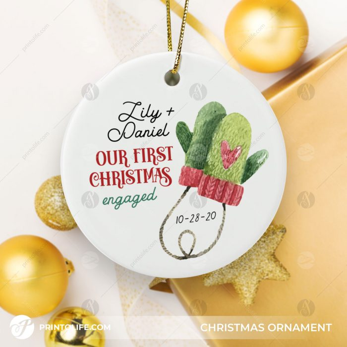 Our First Christmas Engaged Ornament, 1 Personalized Ornament with Names and date 2