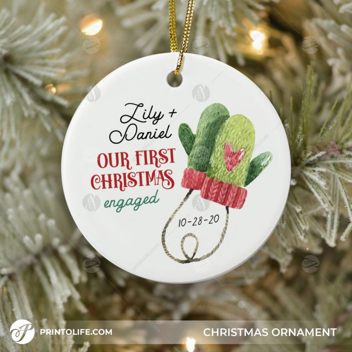 Our First Christmas Engaged Ornament, 1 Personalized Ornament with Names and date 1