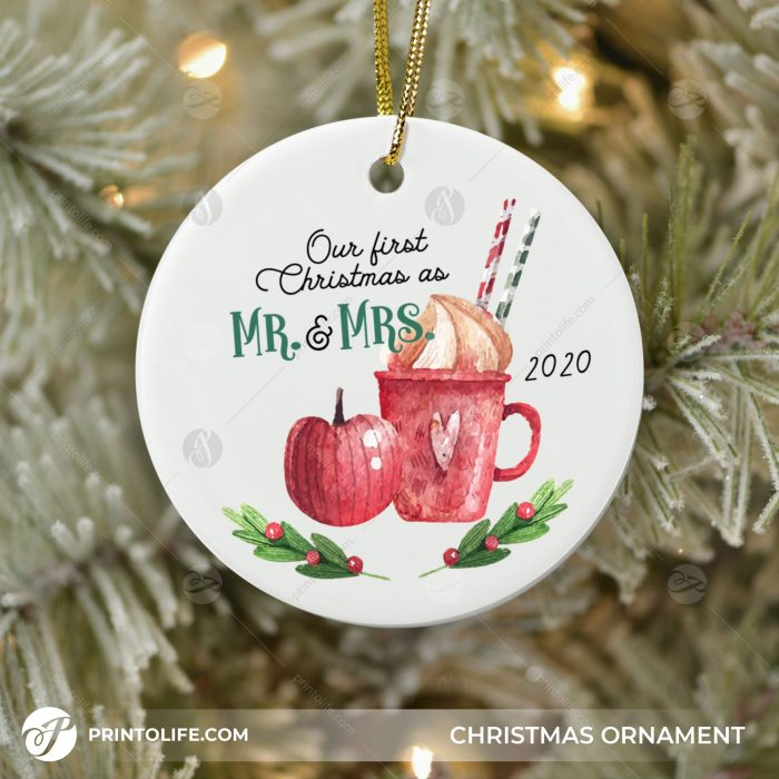 Our First Christmas Ornaments as Mr. and Mrs. 1 Personalized Ornament with Names and date 2