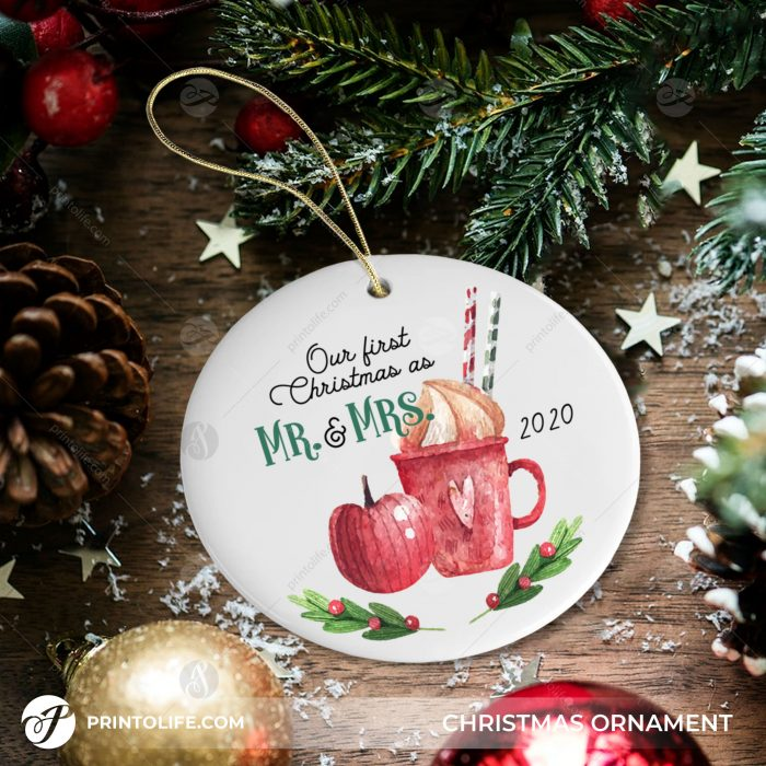 Our First Christmas Ornaments as Mr. and Mrs. 1 Personalized Ornament with Names and date 1