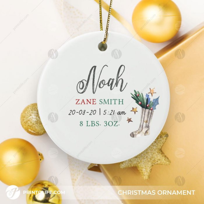 New Baby Christmas Ornament, 1 Cute Personalized Gift with Baby Details + Free Gift Box 3