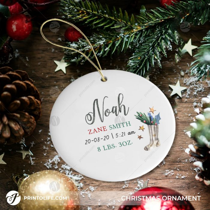 New Baby Christmas Ornament, 1 Cute Personalized Gift with Baby Details + Free Gift Box 2