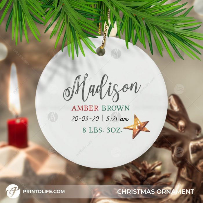 Newborn Christmas Ornament, 1 Cute Personalized Gift with Baby Details + Free Gift Box 3