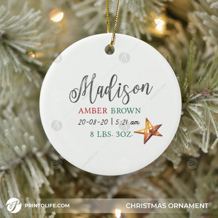 Newborn Christmas Ornament, 1 Cute Personalized Gift with Baby Details + Free Gift Box 1
