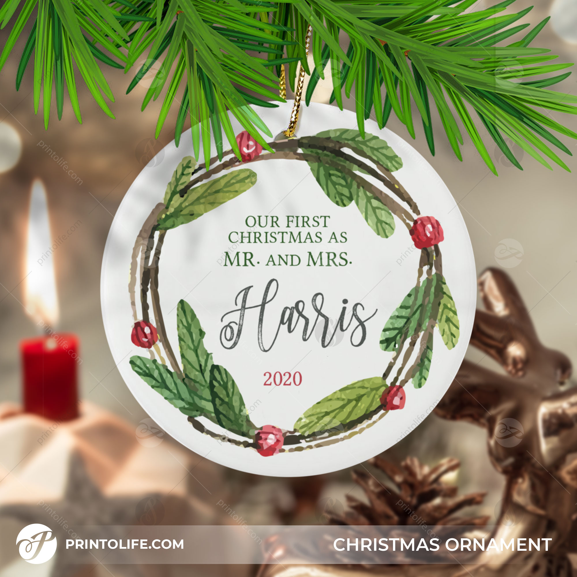 Mr and Mrs Christmas Ornament