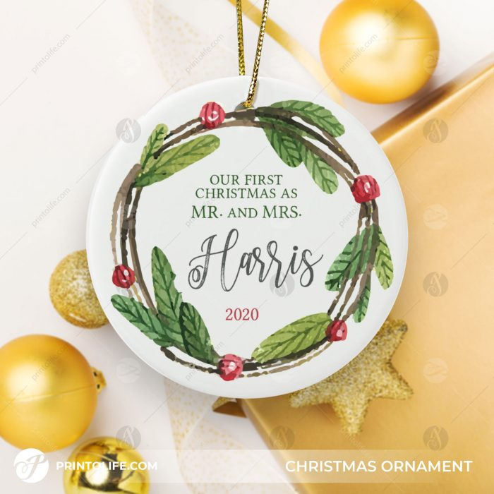 Mr and Mrs Christmas Ornament, 1 Sweet Ornament Personalized With Family Name and Date + Free Gift Box 3
