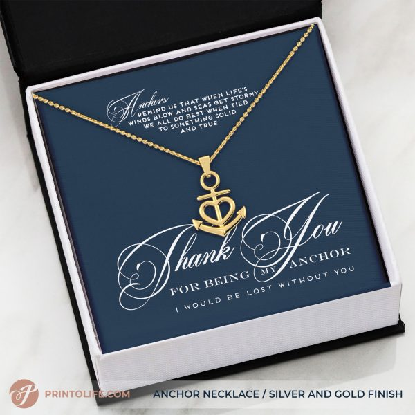Thank you gift for her anchor necklace