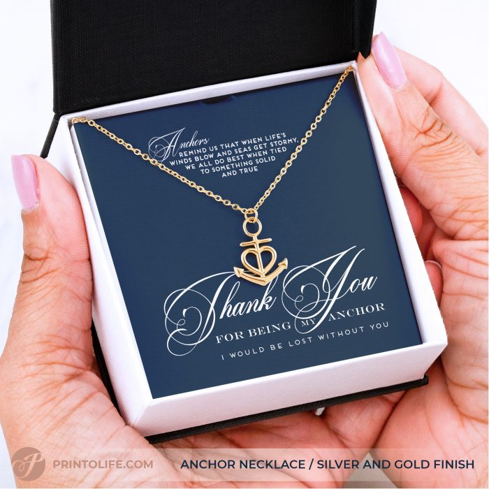 Thank you gift for her | Anchor Necklace | Best friend, Soulmate, Sister, Mom, Grandma, Aunt 3