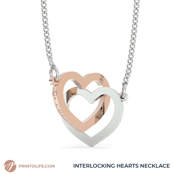 Long distance relationship gifts   Personalized Hearts Maps   1 Interlocked Hearts Necklace with Sweet Message 6