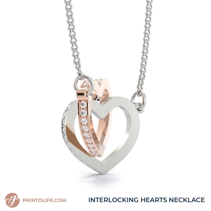 Long distance relationship gifts   Personalized Hearts Maps   1 Interlocked Hearts Necklace with Sweet Message 5