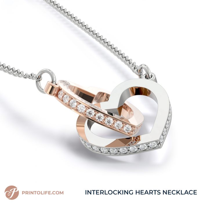 Long distance relationship gifts   Personalized Hearts Maps   1 Interlocked Hearts Necklace with Sweet Message 3