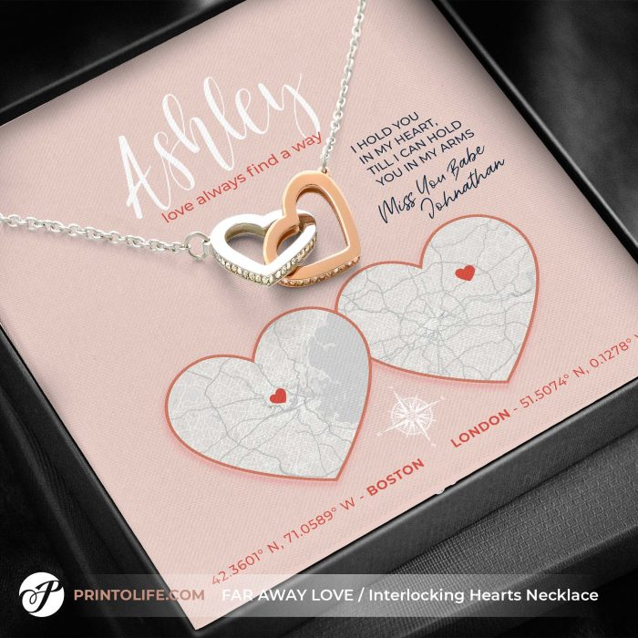 Long distance relationship gifts   Personalized Hearts Maps   1 Interlocked Hearts Necklace with Sweet Message 4