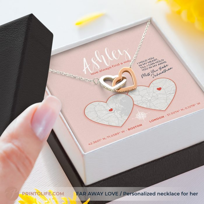 Long distance relationship gifts   Personalized Hearts Maps   1 Interlocked Hearts Necklace with Sweet Message 2